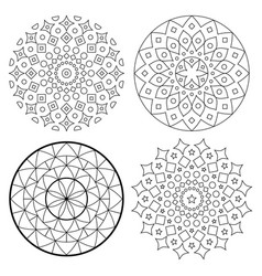 mandala pattern set with stroke bohemian vector image