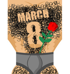 march 8 red rose and male hairy torso epilation vector image