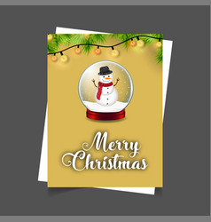 merry christmas snowman ball with lights vector image