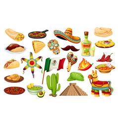 mexico icons carnival cinco de mayo vector image
