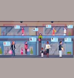 Mix race visitors walking modern shopping mall vector