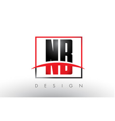Nb n b logo letters with red and black colors and vector