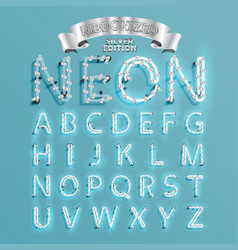 Neon font fontset with christmas decoration pine vector