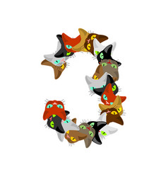 number 3 cat font cats number three pet alphabet vector image