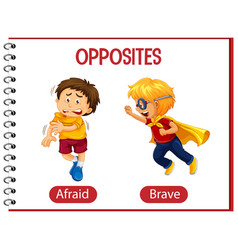 Opposite words with afraid and brave vector