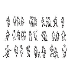 people sketch casual group of people vector image