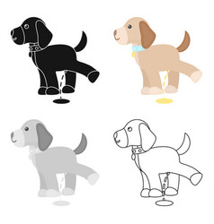 Pissing dog icon in cartoon style for web vector