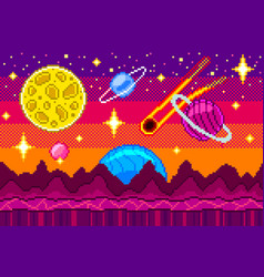 Pixel art space seamless background detailed vector