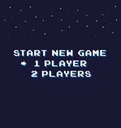 Pixel art start new game background with stars vector