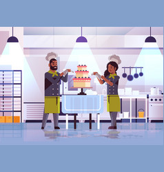 Professional pastry chefs couple decorating tasty vector