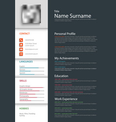 Professional personal resume cv template vector