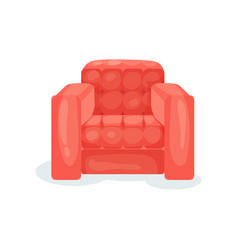 Red comfortable armchair living room furniture vector