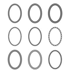 rope set oval frames collection thick and vector image