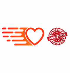 Rush love heart icon with grunge admission seal vector