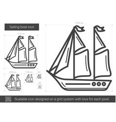 sailing boat line icon vector image