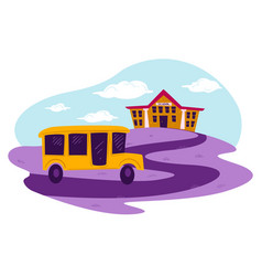 school bus riding down path to building vector image