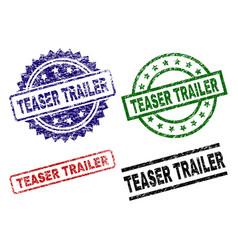 Scratched textured teaser trailer seal stamps vector
