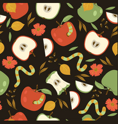 Seamless pattern with red and green apples vector