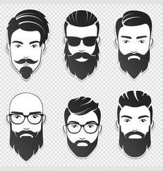 Set bearded hipster men faces vector