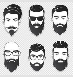 set of bearded hipster men faces with vector image