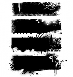 set of black banners vector image