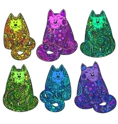 Set of six hand drawn doodle colorful cats with vector image