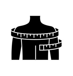 Shoulders circumference black glyph icon clothing vector