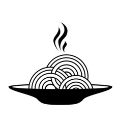 Silhouette monochrome dish with hot spaghetti vector
