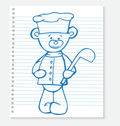 Sketch bear cook on a notebook vector