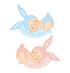 Small sleeping baby in bunny costume vector