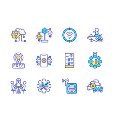 smart city related rgb color icons set vector image