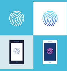Smartphone with fingerprint authentication sign on vector