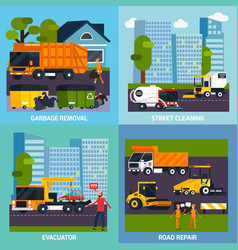 special transport 2x2 flat design concept vector image