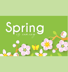 spring background with soft flowers bees and vector image