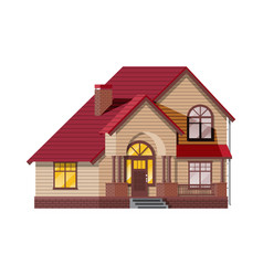 Suburban family house countryside wooden house vector