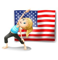The USA flag with a girl exercising vector