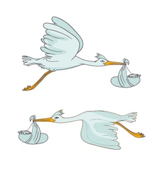 two stork flying with children vector image