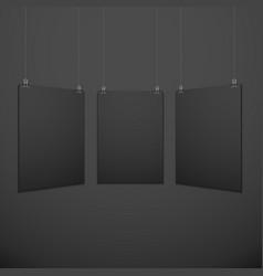 vertical suspended poster set mockup vector image