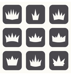 Vintage crowns icons and silhouettes vector