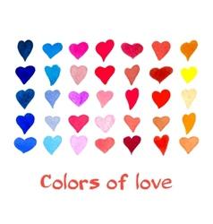 Watercolor hearts set background vector image