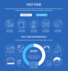 Website banner and landing page fast food vector