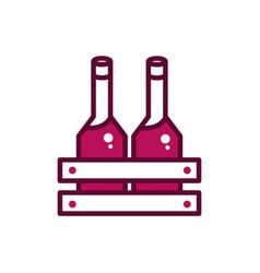 Wine bottles in box celebration drink beverage vector