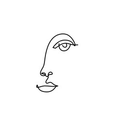 Woman silhouette face as line drawing picture on vector