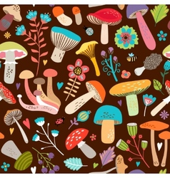 Assorted Leaves and Mushrooms on Brown Background vector image vector image