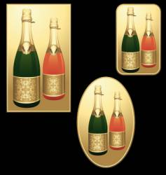 champagne bottles badges vector image