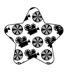 label star with movie camera projector and reel vector image