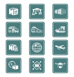 Logistics icons - TEAL series vector image vector image