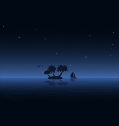 Night water and boat vector image vector image