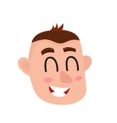 Young man face laughing facial expression vector