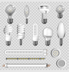 3d lamps types of led bulbs isolated icons vector image vector image